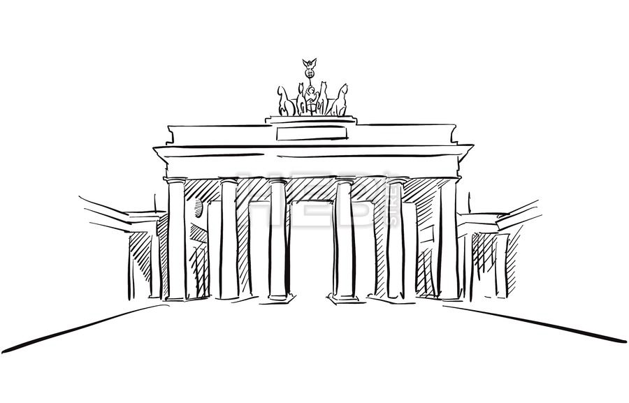 Berlin Brandenburger Gate Greeting Card Sketch In 2020 Sketches