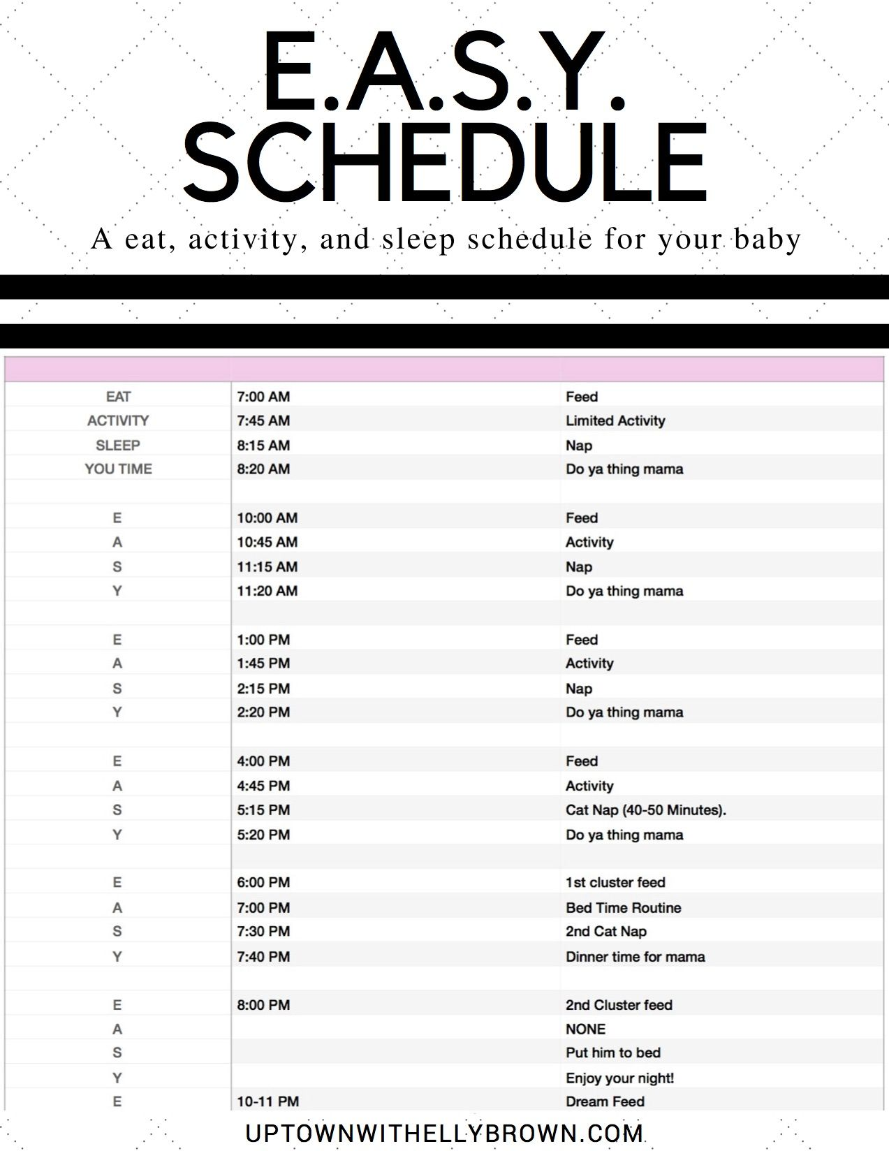 E.A.S.Y Sleep Schedule for your Newborn   Baby sleep ...