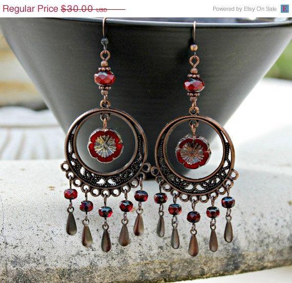 Chandelier Earrings - Cherry Red, Antique Copper, Czech Glass ...