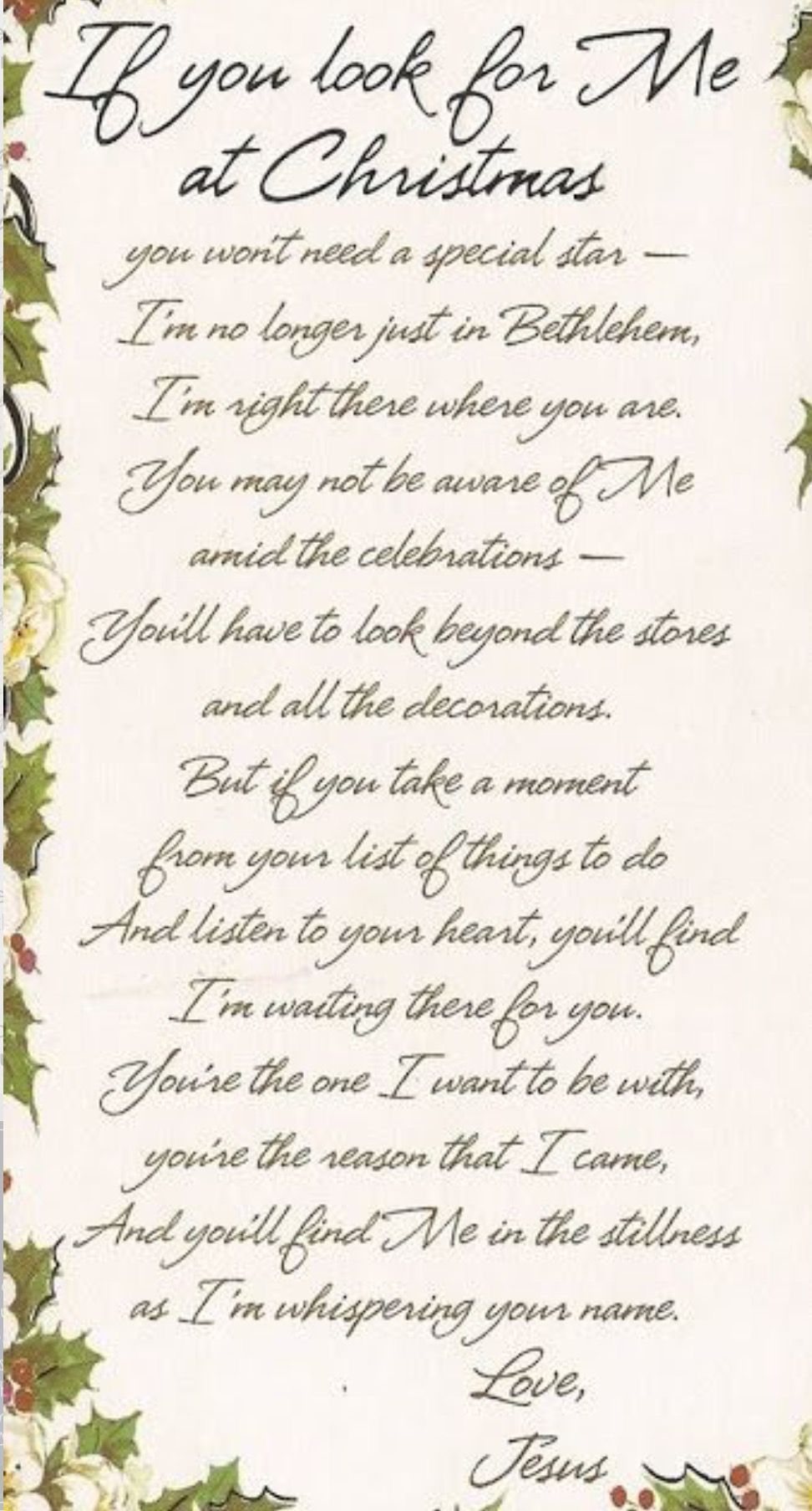 Christmas poems for church programs -  If You Look For Me At Christmas Wonderful Poem For Christmas Awesome Pin Ty 4 It