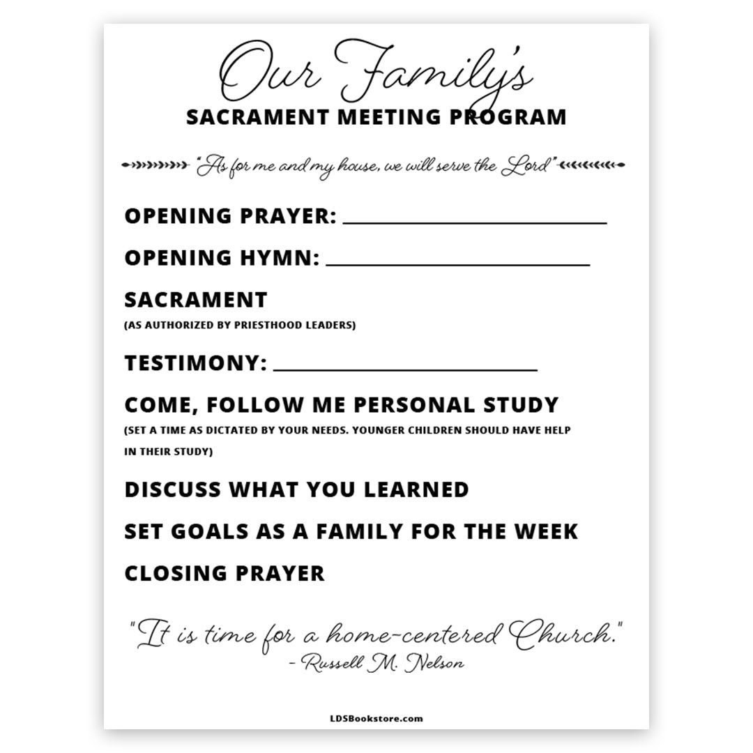 At Home Sacrament Meeting Program