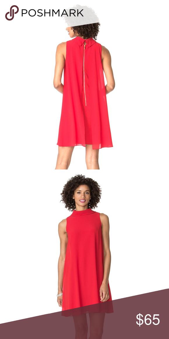 4c7403f6f1f0 Chaps Mock Neck Shift Dress Sleeveless swing dress in fire-engine red! Mock  neck