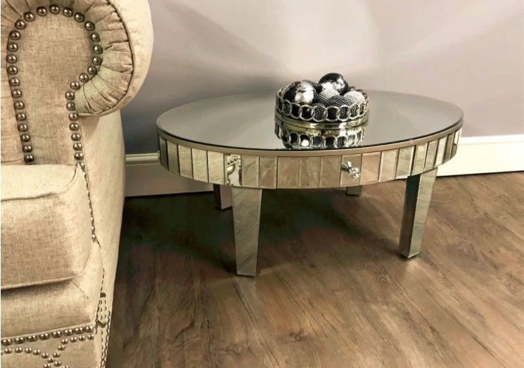 Mirrored Coffee Table Vintage Glass Side Tables Storage Living Room - Mirrored coffee table with storage