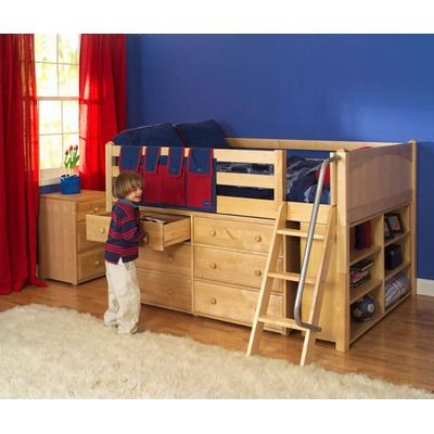 Full Block Low Loft Bed With Dresser And Bookcase Low Loft Beds