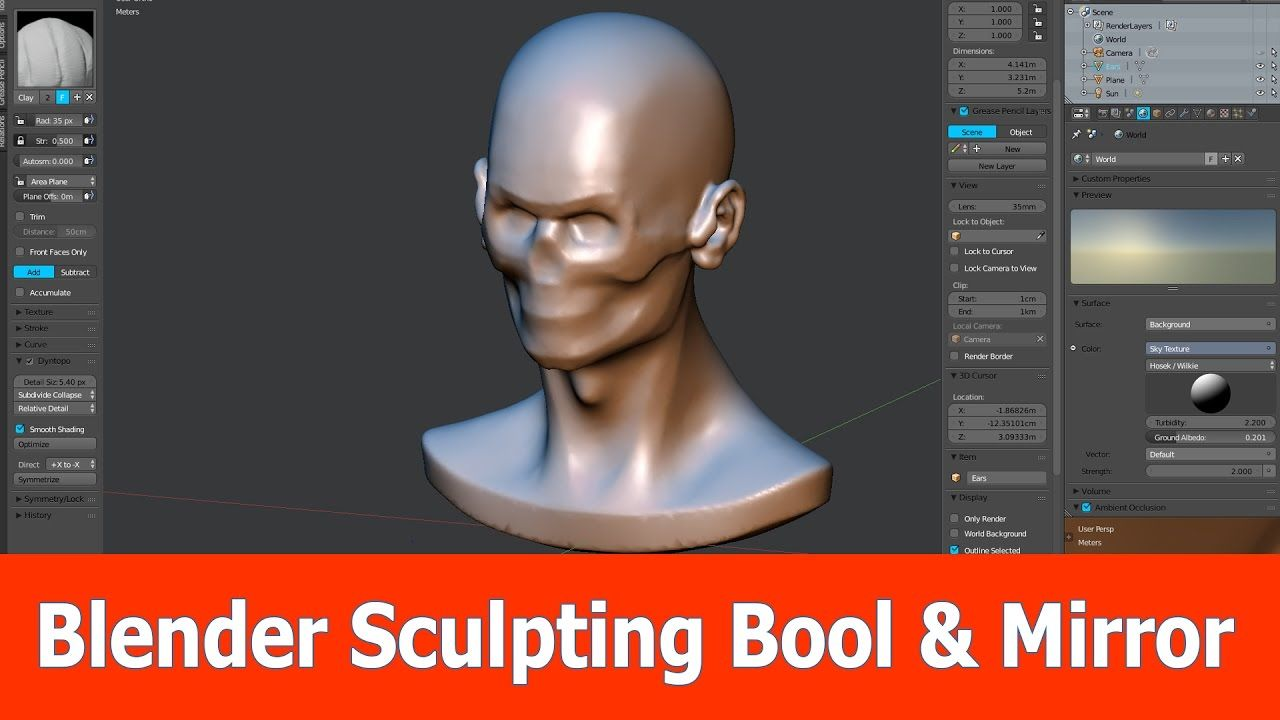 In this video tutorial about Blender and sculpting I show how to combine two objects with the bool tool and symmetrize the model. I show two methods: The fir...