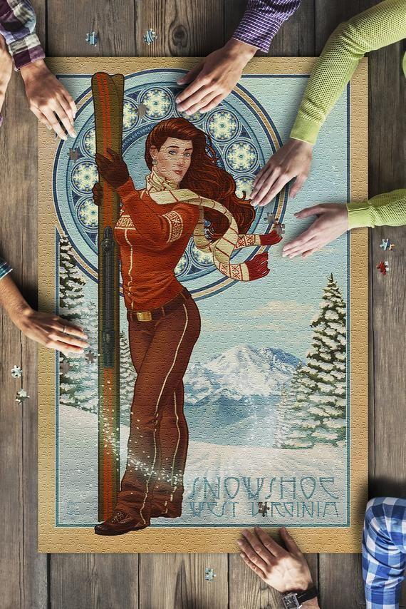 Snowshoe, West Virginia - Art Nouveau Skier (20x30 Premium 1000 Piece Jigsaw Puzzle, Made in USA!) #westvirginia