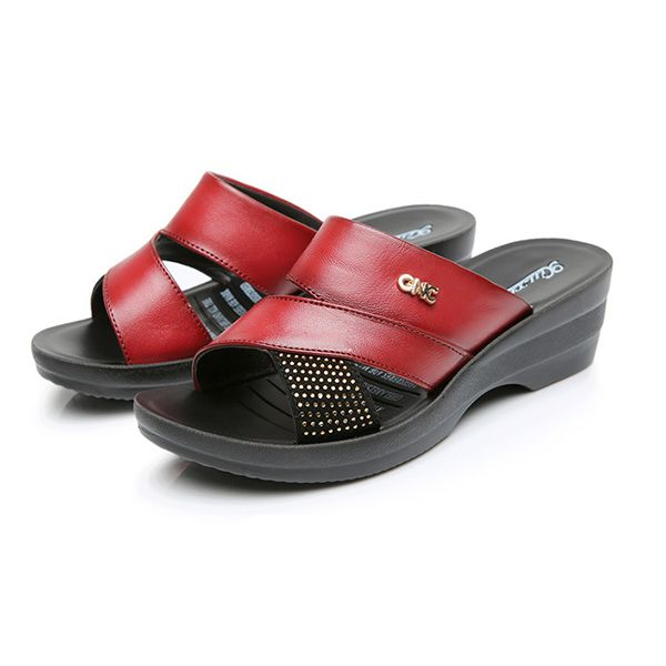 64eec706b US Size 5-10 Women Summer Wedge Sandals Outdoor Soft Comfortable Leather  Slipper Shoes