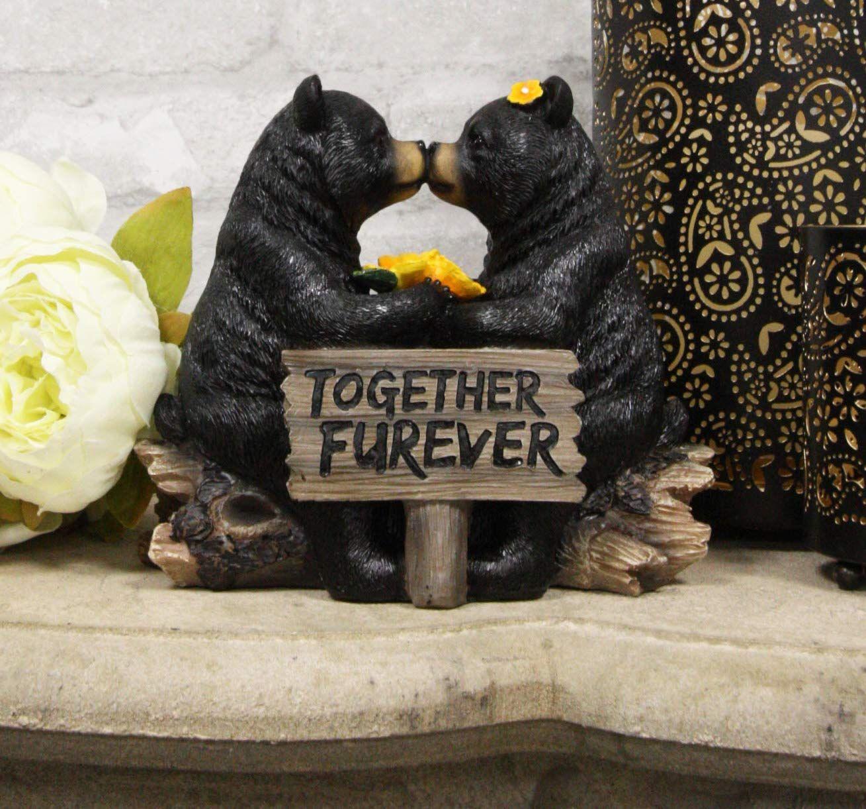 Whimsical Wedding Vows Black Bear Couple Kissing By Tree Log Statue 7 Tall Rustic Bear Bear Decor Black Bear Decor