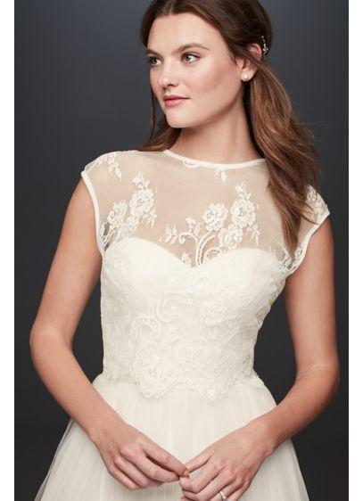 Open Back Lace Cap Sleeve Wedding Dress Topper Style Mila