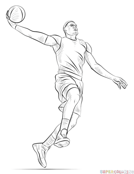 How To Draw A Basketball Player Dunking Step By Step Drawing Tutorials For Kids And Beginners Sports Drawings Basketball Drawings Basketball Players