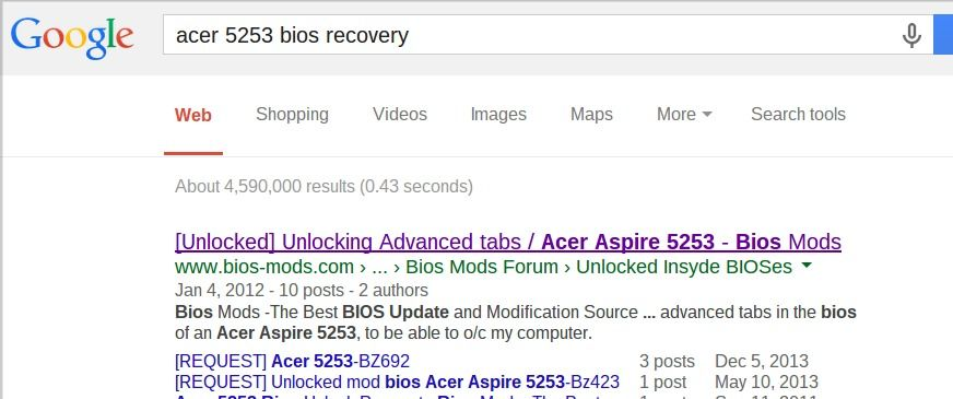 acer 5253 bios recovery | INTERNET SECURITY & TECHY STUFF
