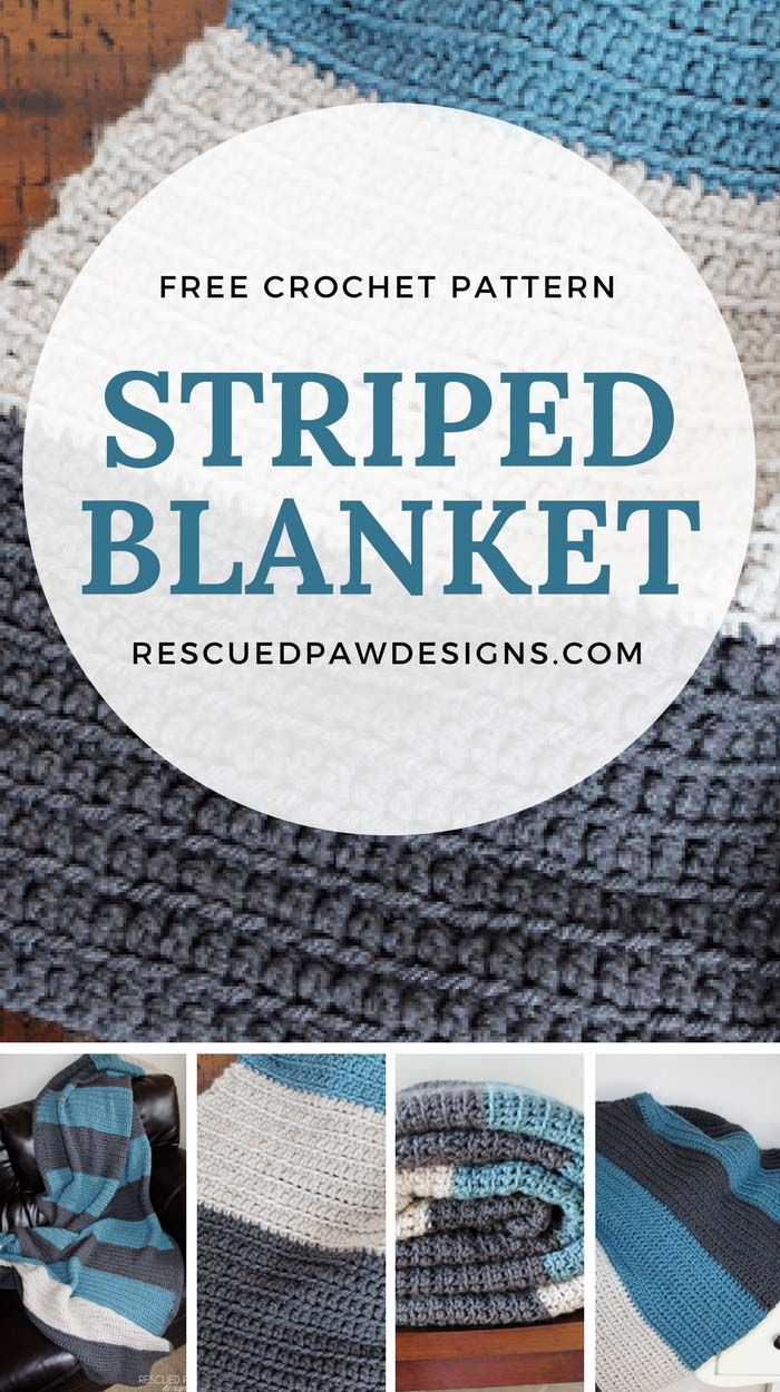 Simple Crochet Blanket - Color Blocked Stripes Crochet Pattern