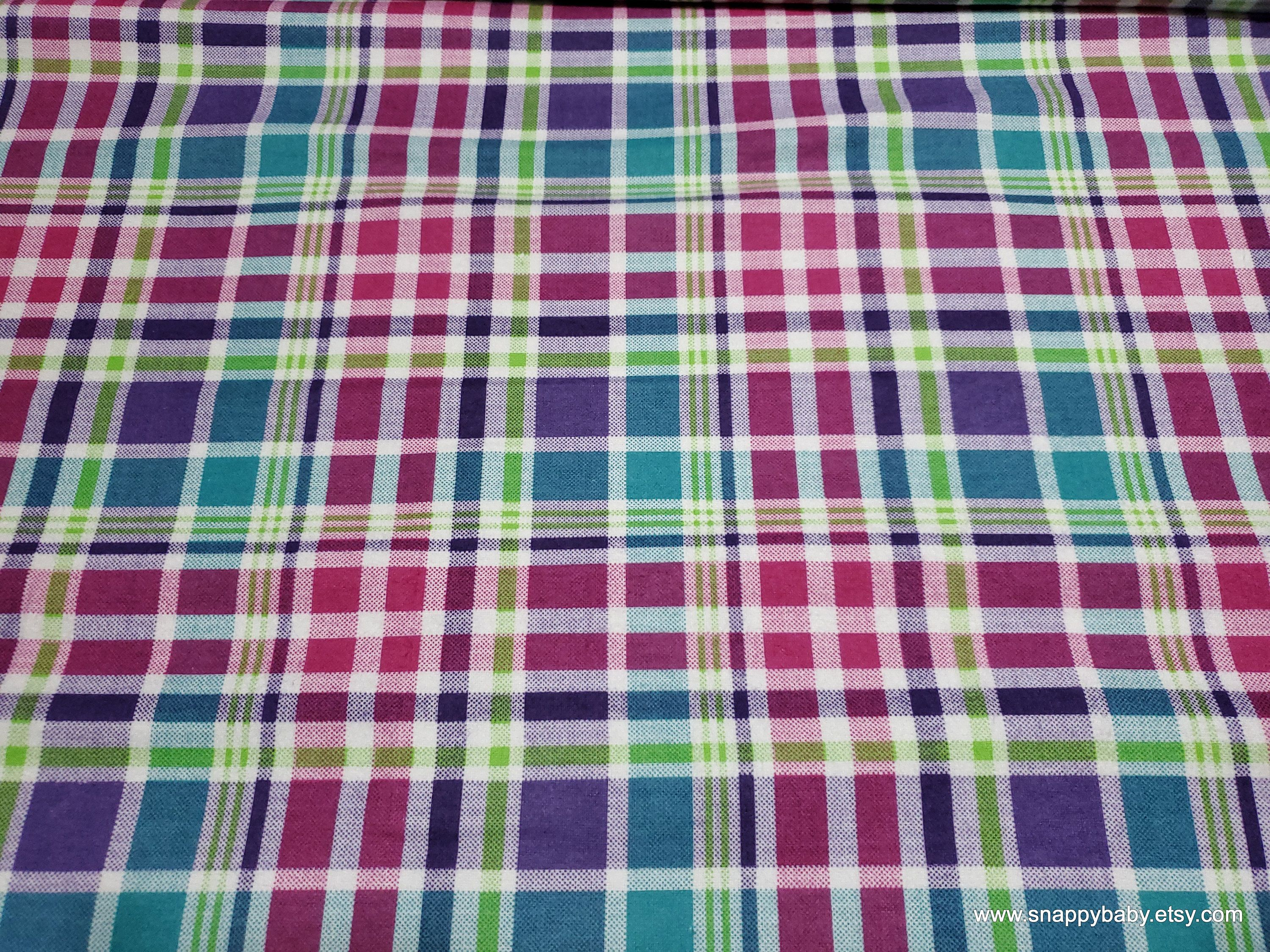 Flannel Fabric Bright Med Plaid By The Yard 100 Cotton Flannel In 2020 Flannel Fabric Fabric Cotton Flannel