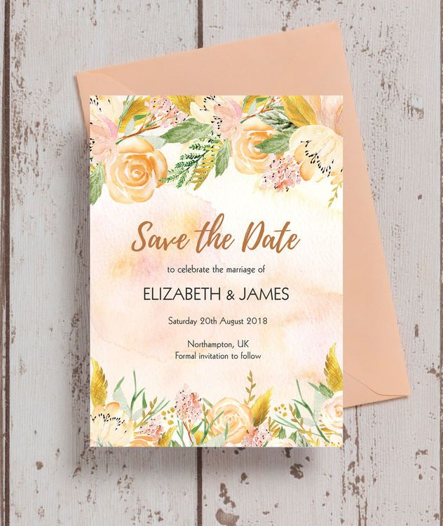 Gold Floral Save the Date Peach blush, Blush pink and Floral wedding - formal invitation style
