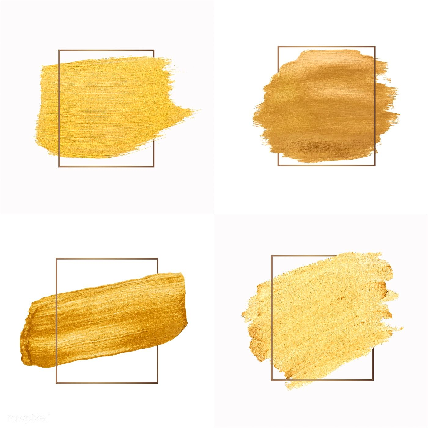 Set Of Golden Shimmery Brush Stroke Badge Vector Free Image By