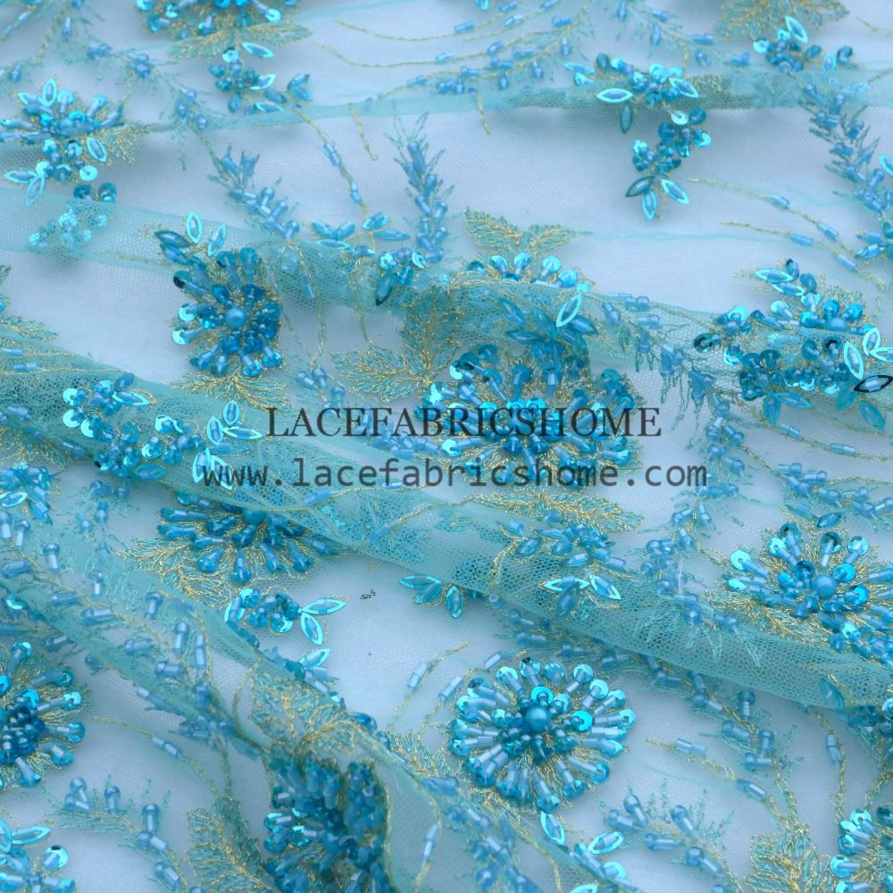 New fashion bluered heavy handmade beaded on tulle embroidery lace