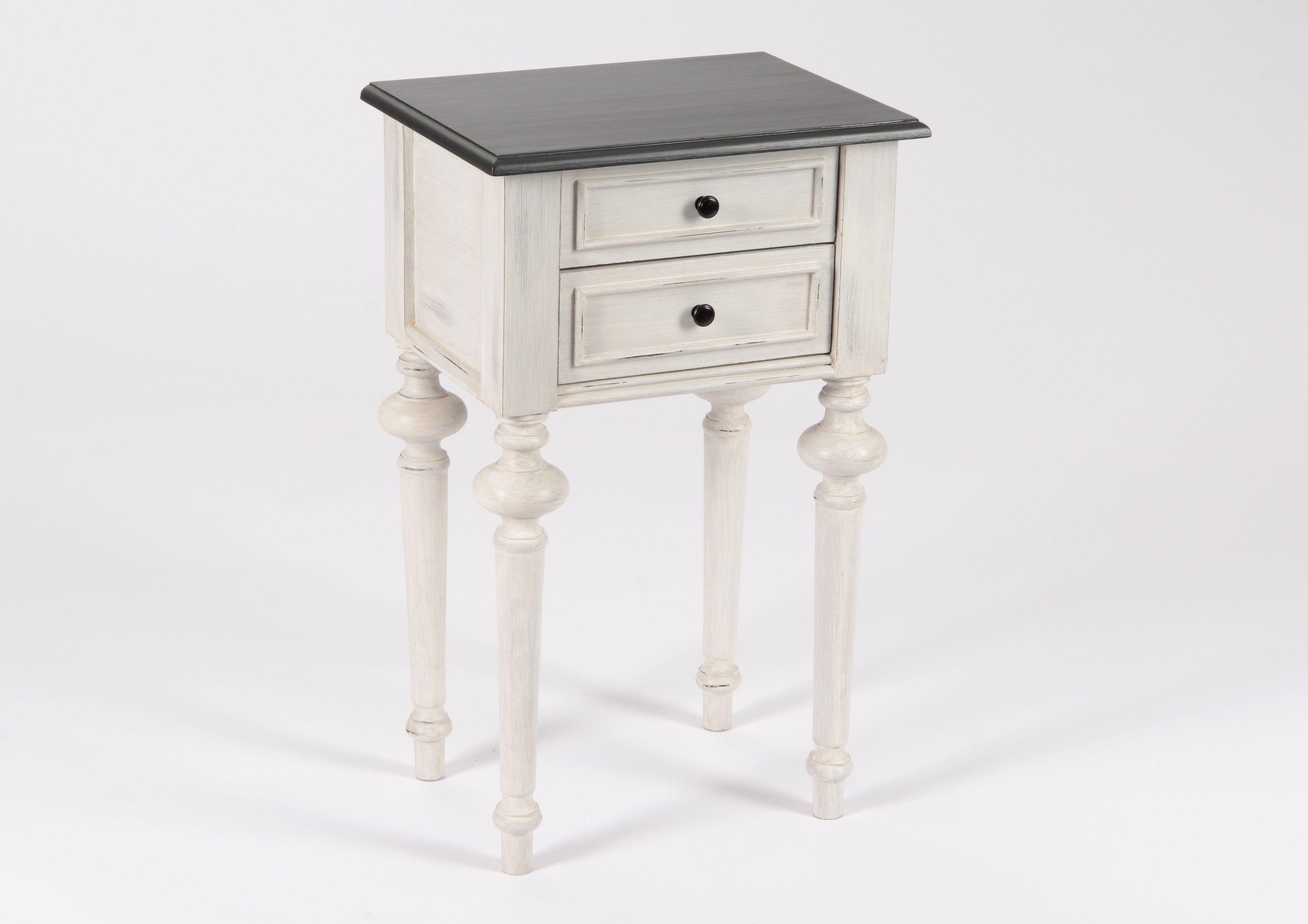 Table De Chevet Baroque 2 Tiroirs Heritage Bois Blanchi
