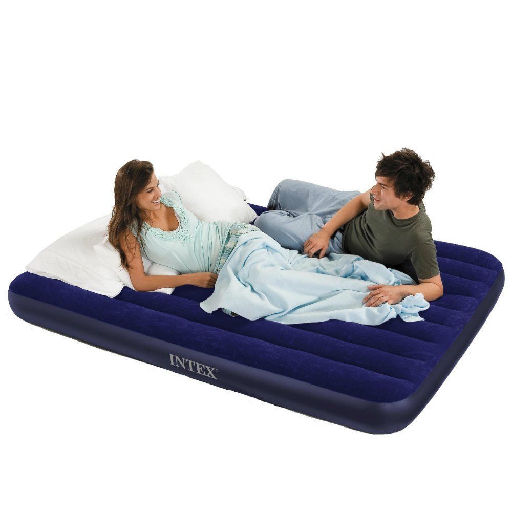 Intex Classic Downy Airbed Queen Blue Camping Household