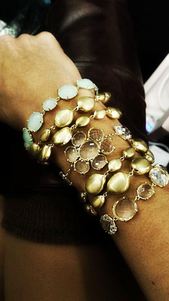 pulseira prata dourada pedras hidrotermais