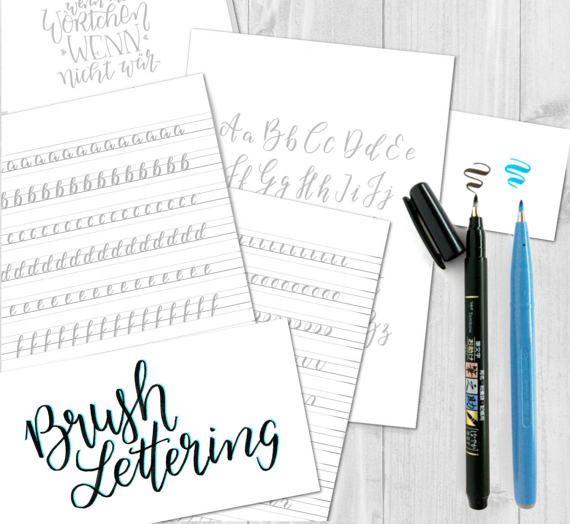 Brush-Lettering Übungsblätter für kleine Pinselstifte