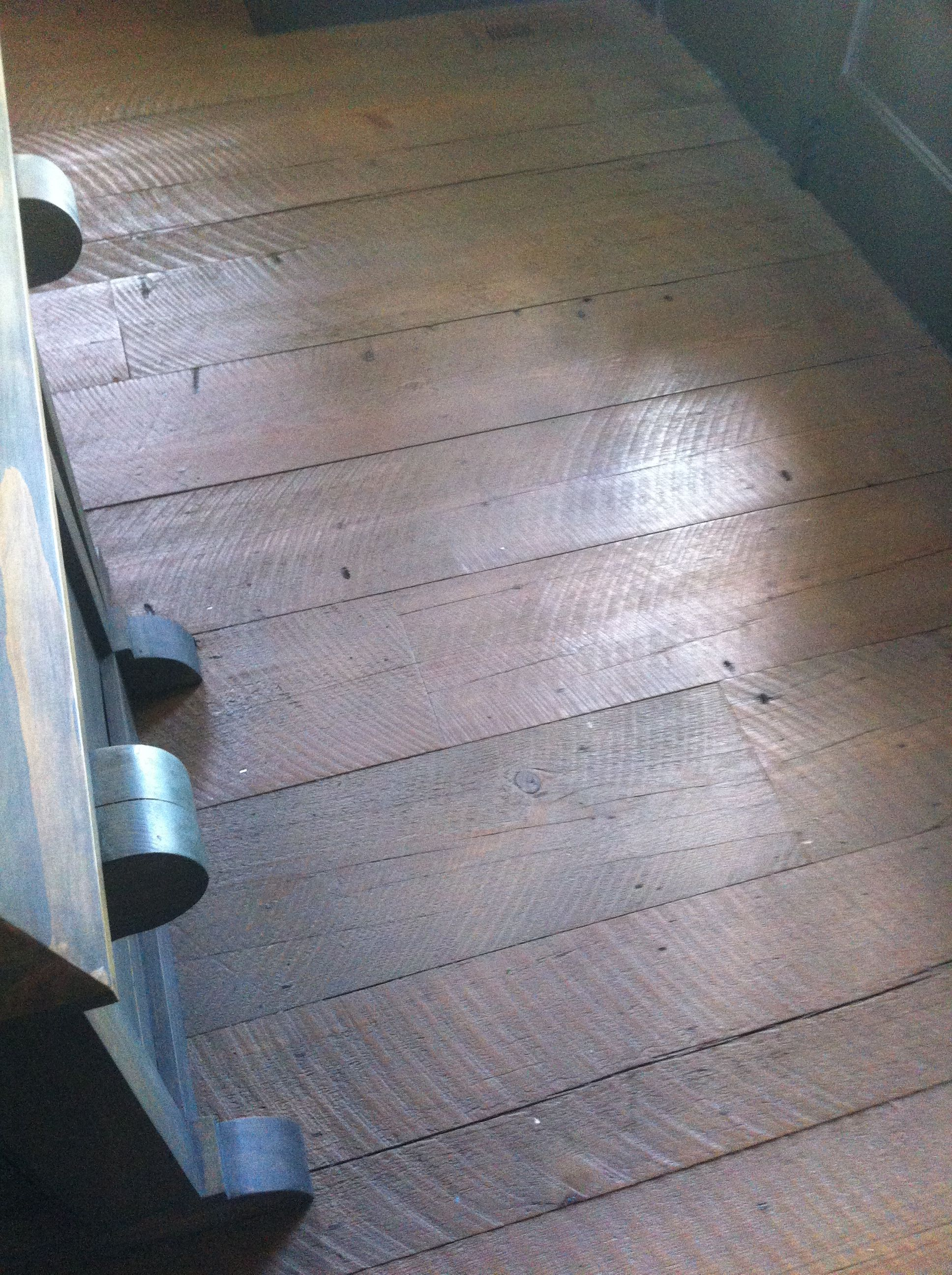 antique face, wide plank heart pine flooring with grey stain