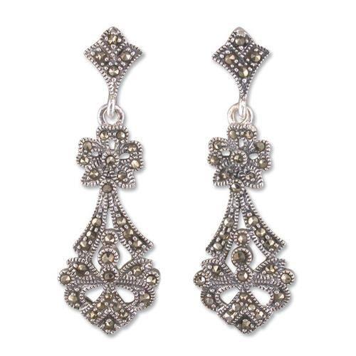 Sterling Silver Marcasite Earrings Victorian Drop By Caraebela