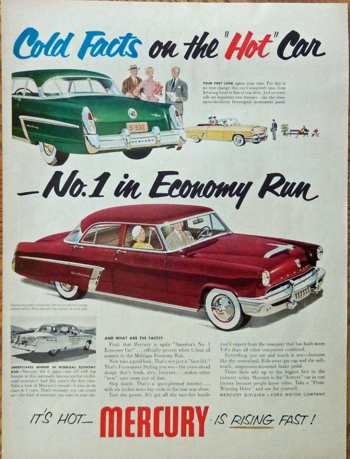 1952 Mercury Car 50 s Print ad color Illustration Scarce old ad cold ...