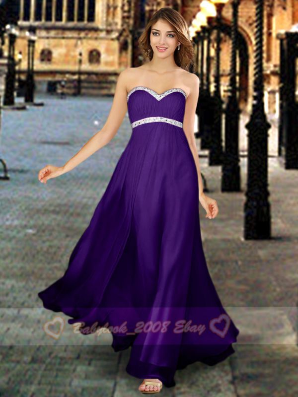 8 Types Cadbury Purple Chiffon Bridesmaids Dresses Evening Prom ...
