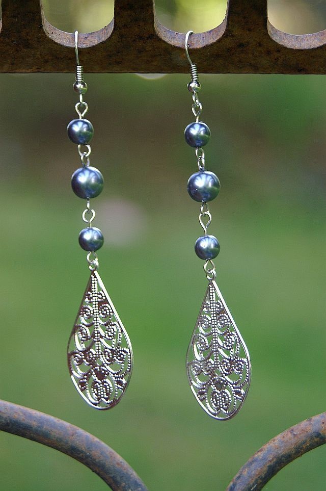 Large Tear Drop with Blue Round Beads Dangle Earrings. $6.00, via Etsy.