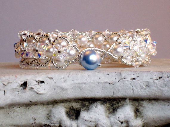 SOMETHING BLUE Bracelet for Brides with Swarovski Pearls and