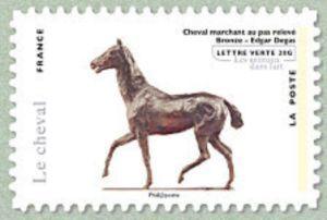 Horse marching statement, bronze, work of Edgar Degas