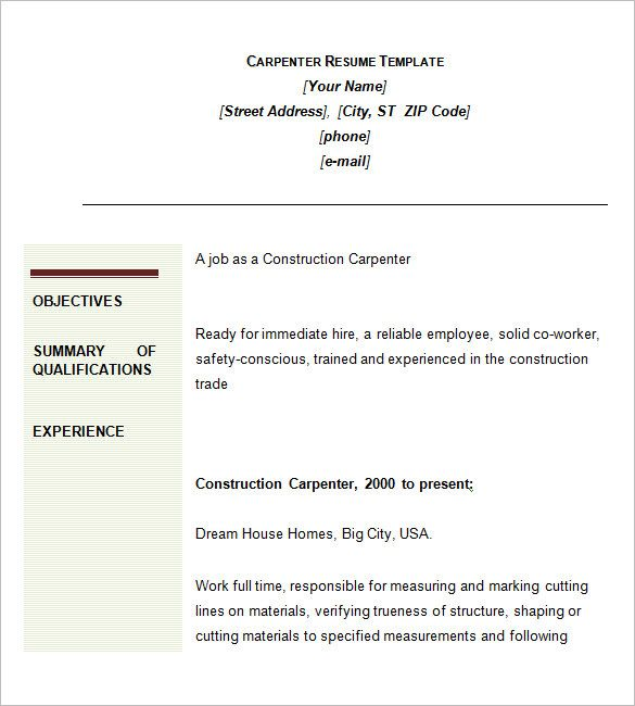 carpenter resume template 9 free samples examples format - carpenter resume examples