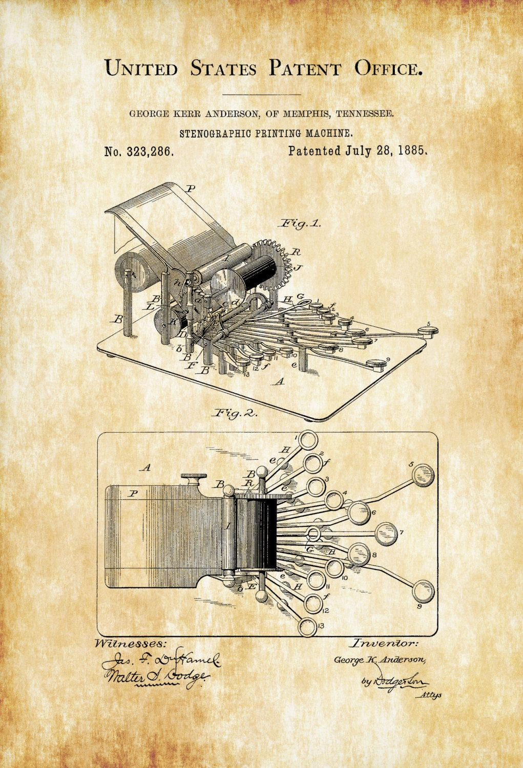 Stenographic Machine Patent – Law Firm Decor, Lawyer Gift, Court ...