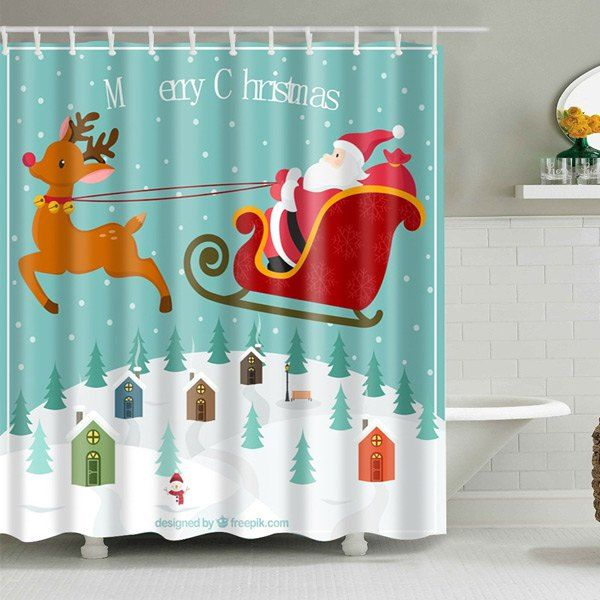 Waterproof Christmas Santa Elk Polyester Shower Curtain L Mobile