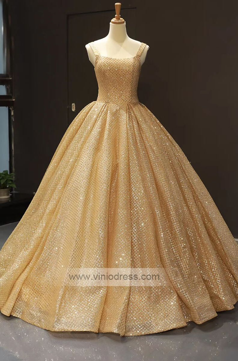 68864dded00 Gold long prom gowns. Simple gorgeous quinceanera dresses.  promdresseslong   ballgowndress  promdresseslace
