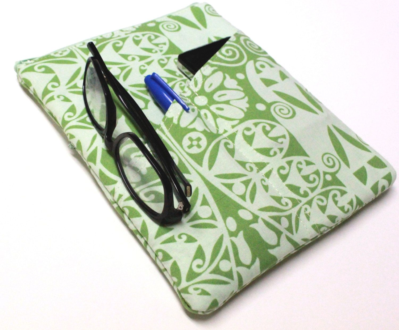 Women's new iPad 1 or 2 or iPad mini Case Retina display Tablet Cover Zipper External Pocket Handmade - Green Temple. $38.00, via Etsy.
