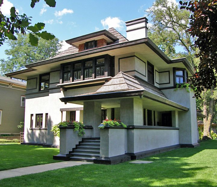 Os primeiros desenhos das casas frank lloyd wright em oak for Casa moderna storm oak