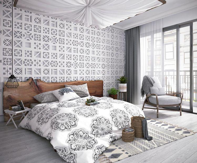 Schlafzimmer Ethno Stil Massivholz Bettkopfteil Ethno-Teppich