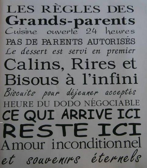 Les Regles Des Grands Parents 35 Décalque Grandsparent