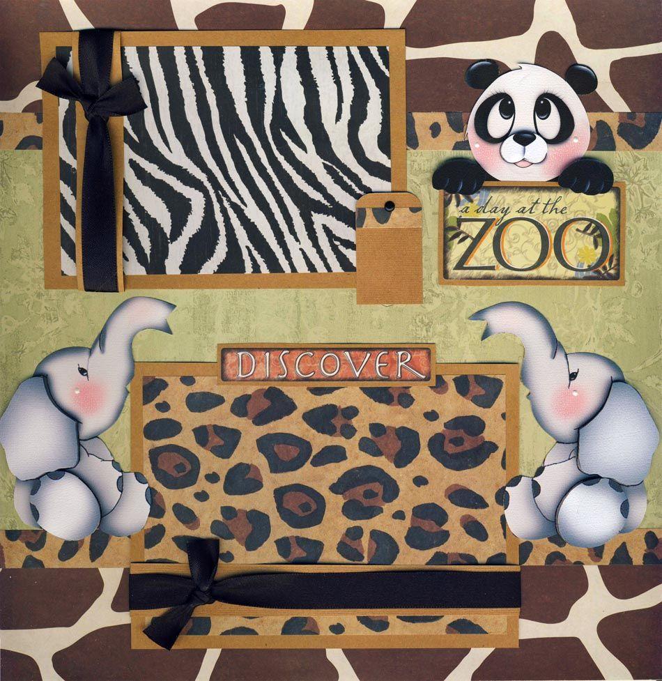 Zoo 2 premade scrapbook pages paper layout 4 album for Andy panda jardin de infantes