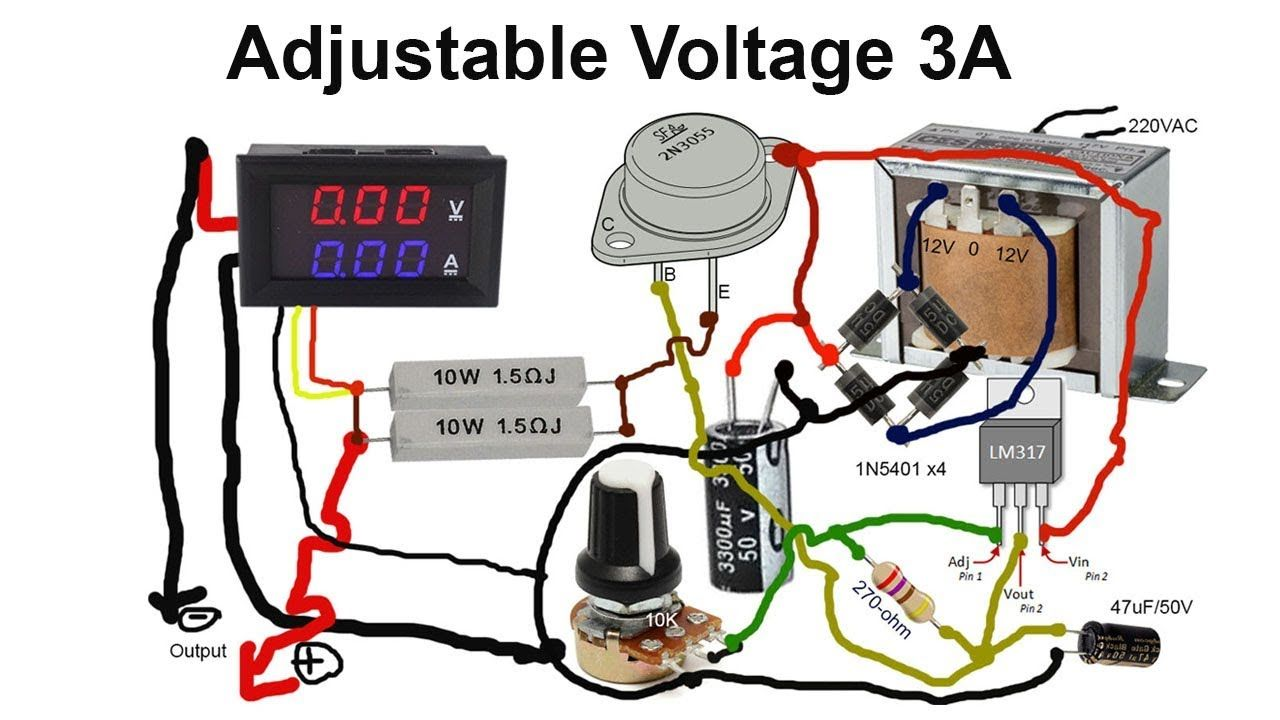 How To Make Adjustable Voltage By Transformer 3a With Transistor 2n3055 Electronic Circuit Projects Electronics Mini Projects Power Supply Circuit