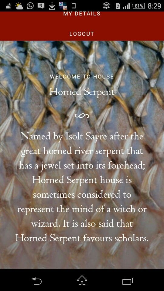 Just got sorted into Horned Serpent in Ilvermorny school of Witchcraft and Wizardry!