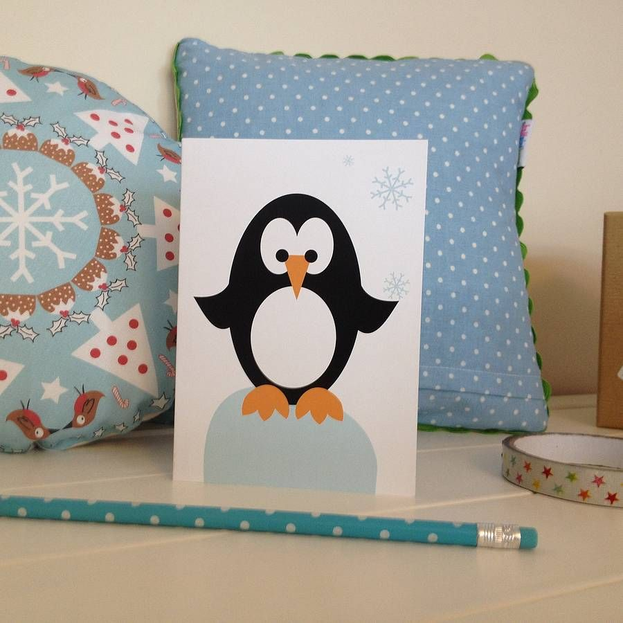 Christmas Penguin Card | Penguins, Christmas cards and Cards