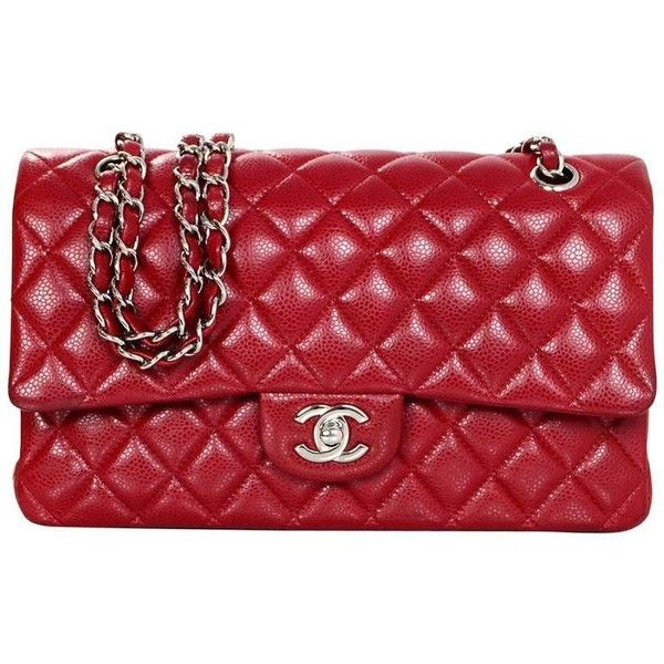 Preowned Chanel Red Quilted Caviar Classic 10 Medium Double Flap Bag 4 105