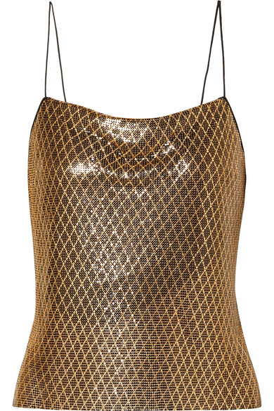 7ed0a27eac06 Alice Olivia - Harmon Printed Chainmail Camisole - Black. Alice And Olivia  Harmon Drapey Chainmail Slip Tank Top ...