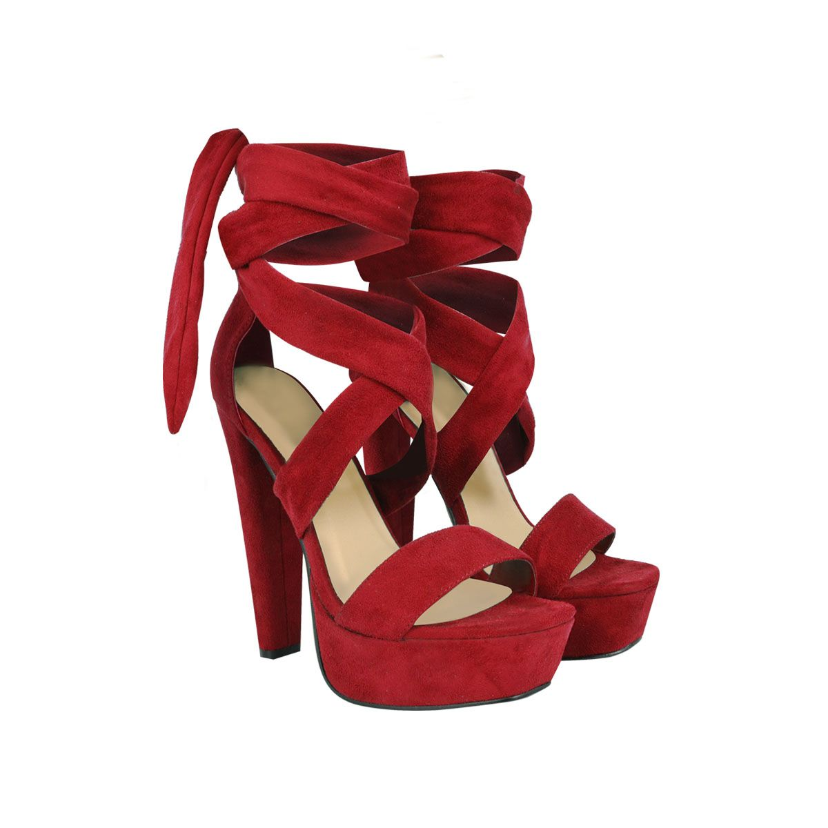 8aed6e0e34713 Red Suede Tie Lace Up Ankle Strap Peep Toe Block Platform Heel ...