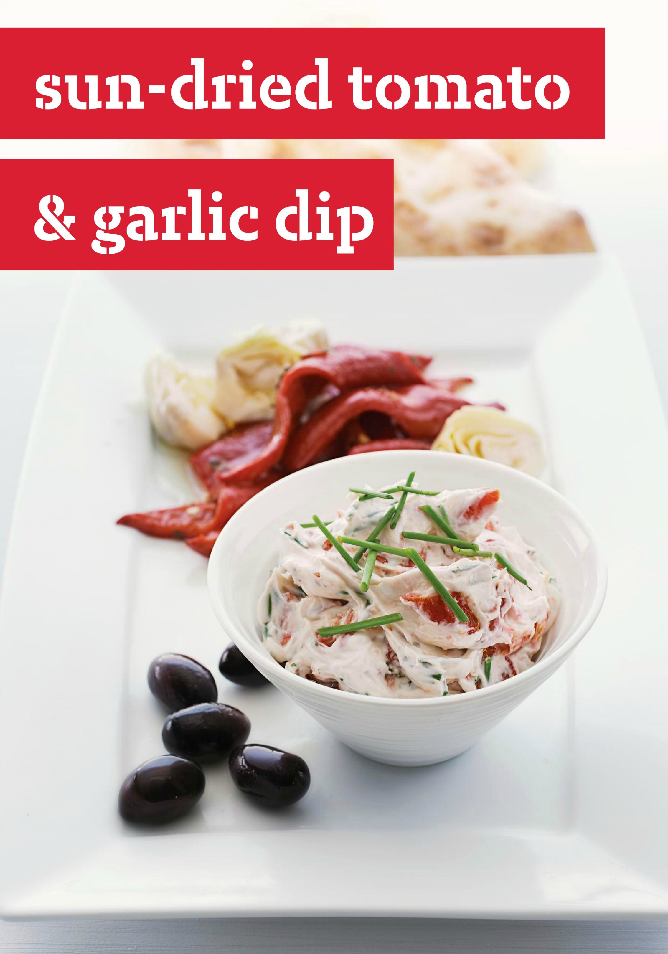 Sun-Dried Tomato & Garlic Dip -- This creamy appetizer recipe features big flavors that will have your guests guessing the magic ingredients. Go ahead and share--this one's too good to keep to yourself.