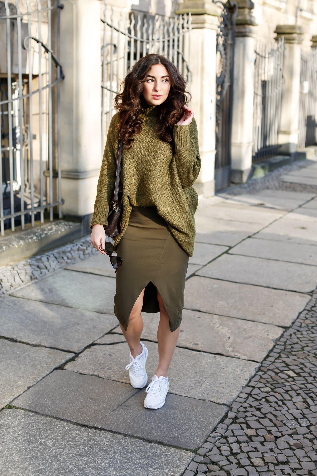 asos khaki midi skirt side split asymmetric h&m khaki oversize