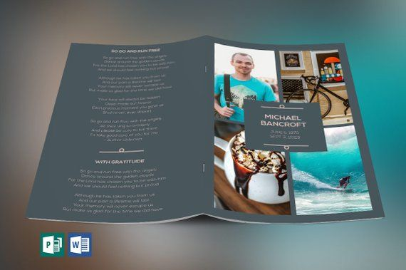 Oceans Funeral Program Word Publisher Template - 4 Pages ( editable
