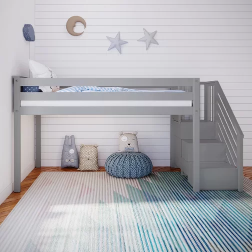 Kittitas Twin Low Loft Bed With Staircase Low Loft Beds Adult